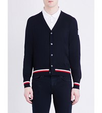 Moncler Gamme Bleu Stripe Trim Cashmere And Silk Blend Cardigan Navy