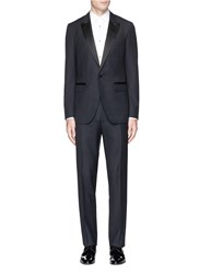 Lanvin Silk Satin Trim Wool Tuxedo Suit Blue