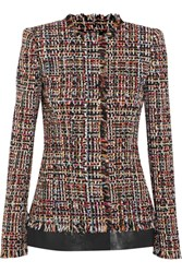 Alexander Mcqueen Leather Trimmed Fringed Tweed Jacket Red