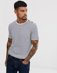 Only And Sons Stripe T Shirt In White Navy