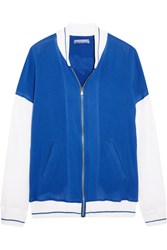 Koza Embroidered Cotton Gauze Bomber Jacket Bright Blue