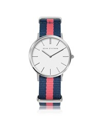 Sean Statham Stainless Steel Unisex Quartz Watch W Blue And Pink Striped Canvas Band