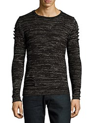 Ron Tomson Long Sleeve Wool Blend Textured Pullover Black