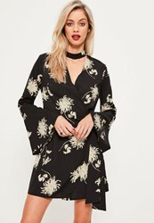 Missguided Black Floral Choker Neck Tie Side Dress