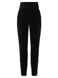 Balmain High Rise Velvet Trousers Black