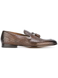 Doucal's Woven Effect Tassel Loafers Brown