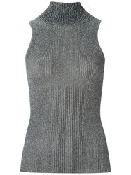 Gig Turtle Neck Knitted Tank Women Polyester P Metallic