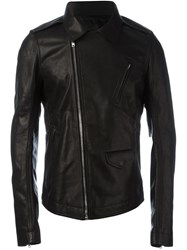 Rick Owens Fitted Leather Jacket Black