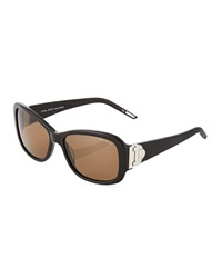Nina Ricci Round Acetate Sunglasses Black