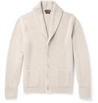 Tom Ford Steve Mcqueen Shawl Collar Ribbed Cashmere Cardigan Neutral