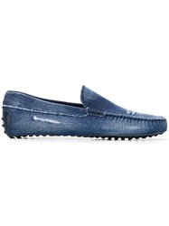 Tod's Distressed Denim Loafers Blue