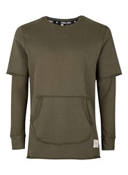 Criminal Damage Green Khaki Asymmetrical Sweatshirt With Side Zipper