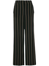 A.L.C. Striped Wide Leg Trousers Black