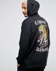 Criminal Damage Hoodie With Tiger Back Print Black