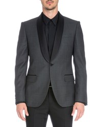 Givenchy Satin Collar Check Evening Jacket Gray