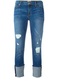 Hudson Distressed Ankle Cuff Jeans Blue