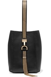 Lanvin Chain Trimmed Leather Wristlet Bag Black