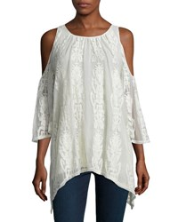 Xcvi Risette Cold Shoulder Bouquet Embroidered Top Natural