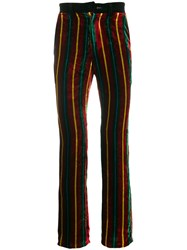 Jean Paul Gaultier Vintage Velvet Stripped Trousers Red