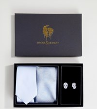 Noose And Monkey Tie Pocket Square Cufflink Premium Gift Set Blue