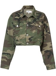 Re Done Camouflage Print Cropped Jacket Green