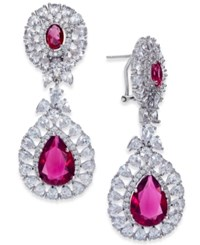 Joan Boyce Silver Tone Double Teardrop Crystal Drop Earrings Red