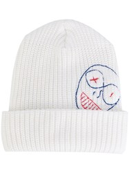 Vivienne Westwood Embroidered Beanie Men Wool One Size White