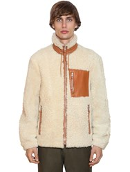 Loewe Shearling Jacket W Leather Details White