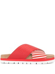 Msgm Striped Cross Strap Slippers Red