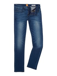 Hugo Boss Men's Orange 72 Skinny Fit Mid Wash Jeans Mid Blue