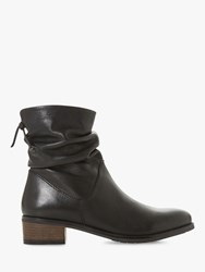Dune Pager Block Heel Leather Ankle Boots Black