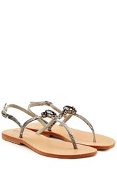 Mystique Embellished Leather Sandals Grey