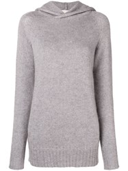 Ma'ry'ya Hooded Fine Knit Sweater Grey