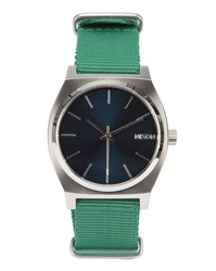 Nixon Time Teller Watch With Green Strap And Navy Blue Face