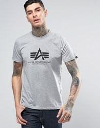 Alpha Industries Logo T Shirt Regular Fit Grey Marl Grey Heather