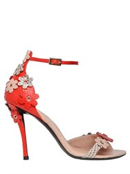 Roger Vivier 100Mm Sin Flowers Python Sandals