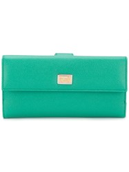 Dolce And Gabbana Foldover Wallet Women Calf Leather One Size Green