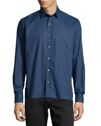 Ike Behar Patterned Sport Shirt Blue