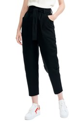 Maje Belted Crop Trousers Black