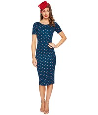 Unique Vintage Mod Wiggle Knit Dress Teal Red Hearts Women's Dress Blue