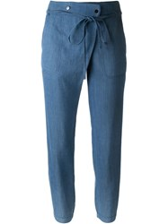 Vince Tie Waist Jogger Denim Effect Tapered Trousers Blue
