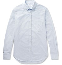 Loro Piana Alfred Button Down Collar Puppytooth Brushed Cotton Shirt Sky Blue