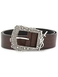 Saint Laurent Decorative Buckle Logo Belt Brown