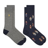 Polo Ralph Lauren All Over Bear Sock 2 Pack Blue