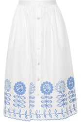 Temperley London Gilda Embroidered Cotton Poplin Skirt White