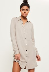 Missguided Grey Military Style Shirt Dress