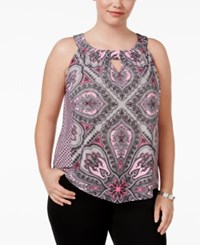 Inc International Concepts Plus Size Printed Shell Only At Macy's Flower Tile