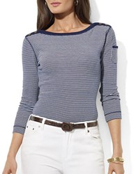 Lauren Ralph Lauren Mickie Three Quarter Sleeve Boatneck Top Blue