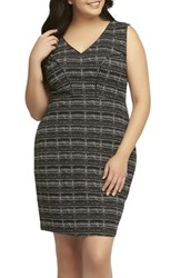Tart Plus Size Women's 'Viera' Piped Detail V Neck Sheath Dress Ink Plaid