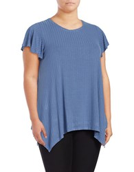 B Collection By Bobeau Plus Ribbed Asymmetrical Tee Blue